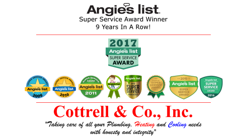 Cottrell & Co., Inc. Plumbing, Heating and Air Conditioning | Super Service Award 9 Years In A Row